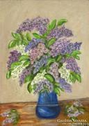 0H342 Jelzett orgonás virágcsendélet festmény