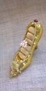 Ékszer tartó arany flitteres cipő selyem belsővel
