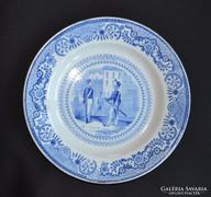 Antik Opaque Gien francia fajansz tányér (1834-1844)