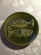Halas, zöld kerámia falitál - green ceramic bowl to the wall NHC