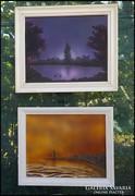 2 db. festmény : Alkonyat és Világítótorony  zsűrizett