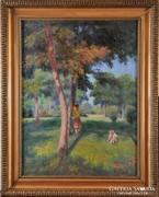Vass Elemér (1887-1957): Nyári délután a parkban