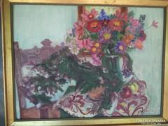 Karácsonyi Irén: Virágcsendélet Képcsarnokos festmény