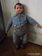 Antik papírmasé fiú baba  60cm