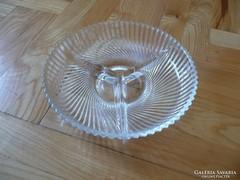 Retro francia osztott csiszolt üveg kínáló tál,  üveg tál