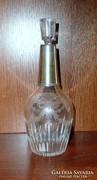 Csiszolt üveg flaska ezüstözött nyakrésszel