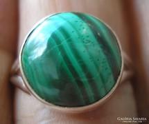 925 ezüst gyűrű malachittal (pilot stone) 18,5/58 mm