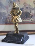 Francia bohóc szobor , bohóc hölgy szobor , réz