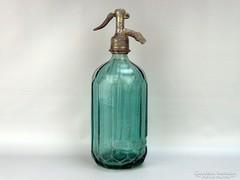 0G720 Régi feliratos zöld szódásüveg 1938