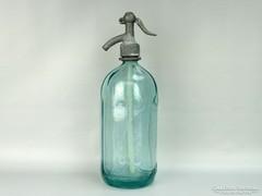 0G729 Régi feliratos zöld szódásüveg KOVÁCS ÓZD