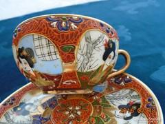 Satsuma Moriage 3 egyedi gésa portréval teás csésze alátéttel