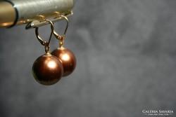 Bronz színű csodaszép gömb gyöngy fülbevaló