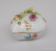 Nagy herendi porcelán szív alakú doboz+rózsás tető/bonbonier