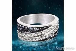 Fekete cirkónia berakásos gyűrű 7-es ÚJ!
