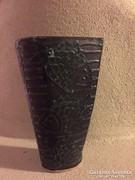 Gorka Géza jelzett, halas váza, festett kerámia,ceramic vase