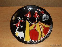 Iparművész Art deco cigány lakodalmat ábrázoló fali tányér -