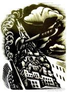 Molnár C. Pál: Repülés fametszet