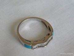 925-ös ródiumozott női gyűrű valódi türkiz és fehér topáz kővel