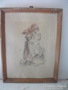 Antik kislány kép eladó!