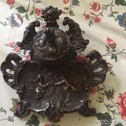 Antik szecessziós bronz kalamáris angyal/puttó díszítéssel