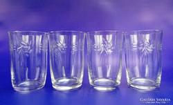0H582 Régi csiszoltüveg pohár készlet 4 darab