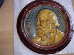 Vilmos Zsolnay = signed in mass !: Kossuth plaque !!! Diameter - 18.5 cm!
