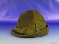 0H695 Régi bőr vadász kalap 57-es