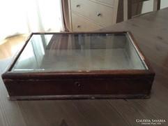 Antik nagy méretű ékszertartó üvegtetős doboz