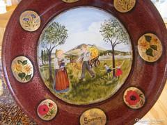 Művész által kézzel festett üveg tál, átm: 28 cm