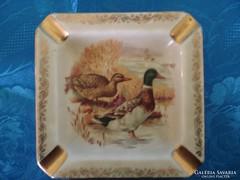 Vadkacsa mintás régi porcelán hamutartó