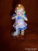 Antik libát etető  porcelán kislány