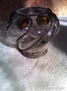 Régi fémvázas,különleges hasas váza/Cameo ,új számlaszám/