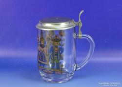 0H978 Ónfedeles jelzett francia üveg sörös korsó