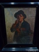 Ott Zoltán festménye - Cigányzenész
