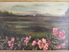 Tájkép rózsaszín virágokkal