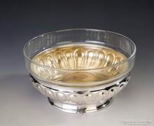 Ezüst art deco üveges kínáló