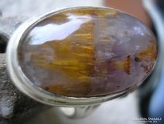 925 ezüst gyűrű 19/59,7 mm, cacokszenite kővel