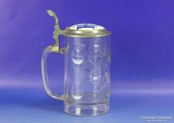 0H979 Antik ónfedeles porcelánbetétes söröskorsó