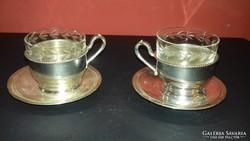 Ezüst kávéscsésze párban