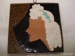 Szignált kerámia falikép: Kertész testvérektől