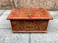 Zsolnay nagy eozin ládika gránátalmás dekorációval