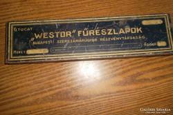 Antik fémdoboz-Westor fűrészlapok-