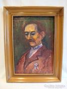 Jelzett férfi portré festmény vastag fa képkeret
