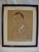 Férfi Portré 1949 jelzett akvarell festmény