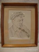 Dohányzó férfi alak portré rajz