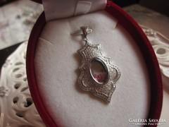 KURIÓZUM! fehéraranyozott sterling ezüst medál barokk üveg