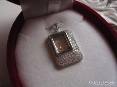 KURIÓZUM! fehéraranyozott sterling ezüst medál minimál üveg