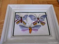 Royal Dux porcelán fali kép,Royal Dux  lepke, pillangó