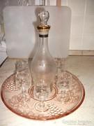 Antik szőlőmintás likőrős készlet gyönyörű tálcával eladó!