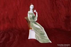 Széken ülő nő  - Zsolnay porcelán szobor